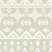 Tribal art ethnic borders seamless pattern. Aztec light repeating background texture, geometric shapes, triangles, lines in gray and white. Fabric swatch, cloth design, wallpaper - vector artwork