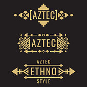 Tribal old aztec mexican vector ornaments on black background. Vector illustration