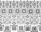 Tribal black and white seamless pattern. indian or african ethnic stamp style. Hand-drawn vector image for textile, decorative background, wrapping paper