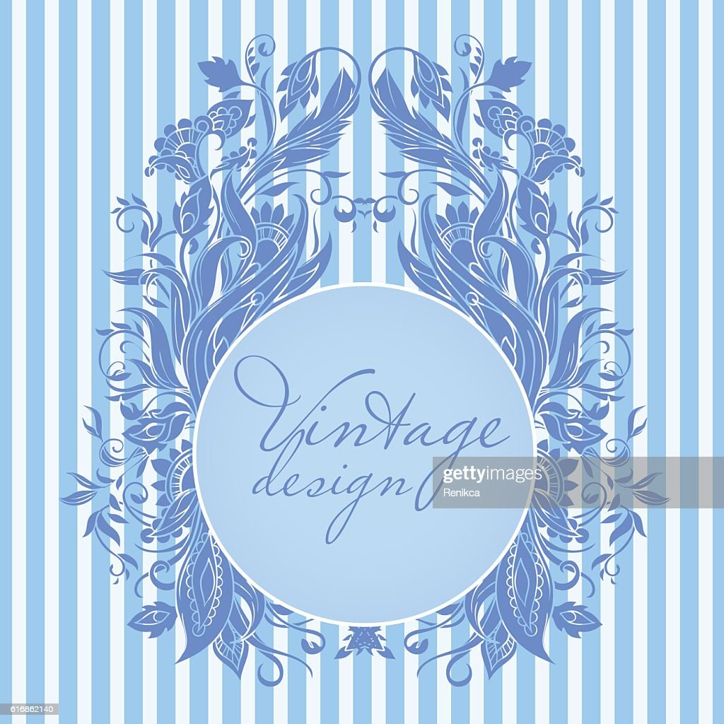 Tribal blue frame with floral ornament : Vector Art