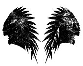 tribal chief wearing feather headdress black and white vector silhouette design