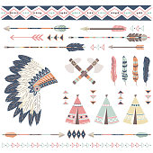 A vector illustration of Tribal Collections Set. Perfect for invitations, blog, web design, graphic design,embroidery, scrapbooking, scrapbook elements, papers, card making, stationery, paper crafts a