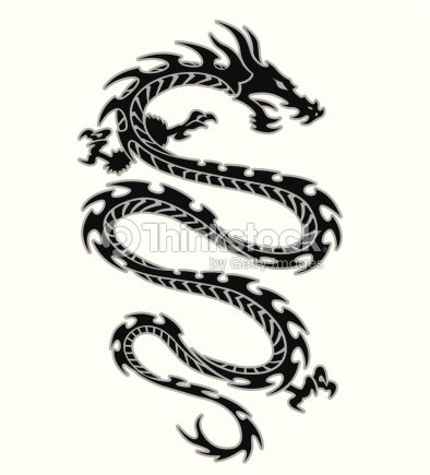 tribal dragon tattoo design vector art thinkstock. Black Bedroom Furniture Sets. Home Design Ideas