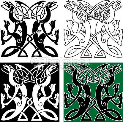 Tribal Dragons Nudo Celta Adorno Con Patrón Arte vectorial   Thinkstock