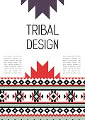 Tribal ethic colorful brochure flyer with nice geometric abstract design elements, template for cover or card ornament