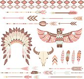 A vector illustration of Tribal /Indian Clip Art Collections perfect for invitations, cards and more.
