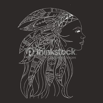 Conception De Tatouage Et Tshirt Tribal Femme Indienne Art De