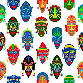 Tribal mask vector African face masque and masking ethnic culture in Africa illustration set of traditional masked symbol seamless pattern background.