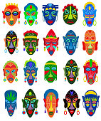 Tribal mask vector African face masque and masking ethnic culture in Africa illustration set of traditional masked symbol isolated on white background.