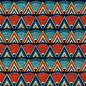Tribal seamless ornament in vibrant colours. Abstract background. Hand drawn vector illustration EPS 10.