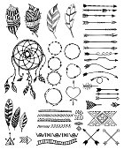 Tribal pack icon set. Vector hand drawn creative native arrows, crossed arrows, feathers, frames, dreamcatcher.