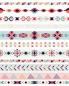 Tribal decorative seamless pattern with traditional elements, vector design