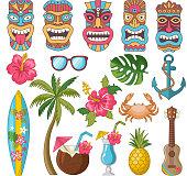 Tribal symbols of hawaiian and african culture. Vector african hawaii totem, mask of tribal culture tiki illustration