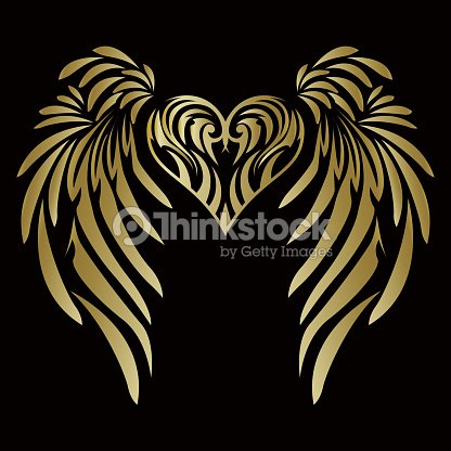f9e8d2f735426 Tribal. Tribal sticker. Heart and wings. Design of angel wings and hearts.