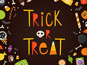 Trick or treat frase written in cartoonish characters framed by candies and sweets. Halloween vector card. Masked sweets can be used separately.