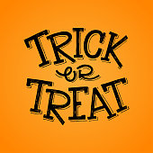 Vector hand lettering phrase Trick or Treat to decorate Halloween greeting cards