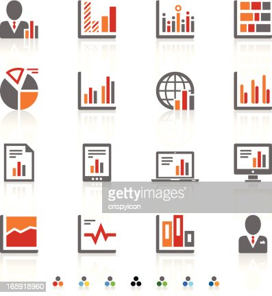 Tricolor Icons Of Different Types Of Graphs Vector Art | Getty Images
