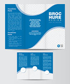 Tri-Fold Business, Corporate Brochure Design Layout Template - Tri Fold Business Brochure Design Vector Illustration