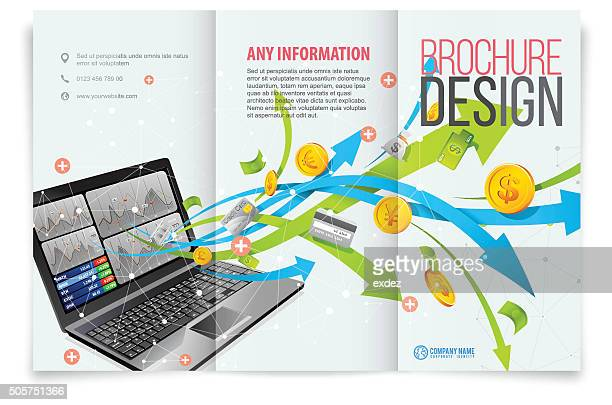 Tri-fold template design on business tech