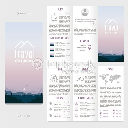 trifold travel brochure template vector landscape with mountains and