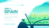 Trip to Spain vector landing page template. Europe tourist attractions, landmarks web banner design. Barcelona, Madrid cityscape illustration with text space. Travel agency website homepage