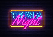 Trivia Night neon sign vector. Quiz Time Design template neon sign, light banner, neon signboard, nightly bright advertising, light inscription. Vector illustration.