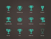 Trophy and awards icons. Vector illustration.