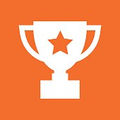 Trophy cup flat vector icon. Simple winner symbol. White illustration isolated on orange background.