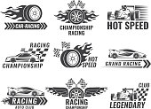 Trophy, engine, rally and others symbols for race sport labels. Vector rally sport label, winner champion flag, emblem banner car championship illustration