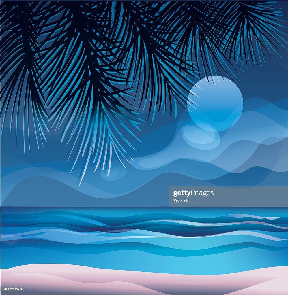 Trópico Ilha exótica praia Oceano : Arte vetorial