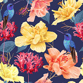 Vector tropical seamless pattern with bright flowers and hummingbird on dark blue. Exotic floral background design for cosmetics, spa, perfume, health care products. Best as wrapping paper