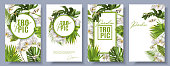 Vector botanical vertical banners set with tropical leaves, orchid flowers and butterflies on white background. Design for cosmetics, spa, beauty care products, travel company. Can be used as summer b