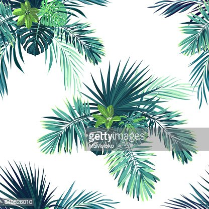 Tropical background with jungle plants. Seamless vector tropical pattern with green phoenix palm leaves : stock vector