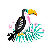 Vector illustration of a bright tropical bird Toucan with palm leaf and flowers isolated on white background. Vector illustration.