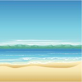 Tropical beach background illustration with land in distance and lots of copyspace.