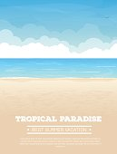 Summer vacation vertical banner with text. Tropical sand beach, sea or ocean with waves and big clouds on horizon, sea birds flying in the sky. Seaside view. Vector realistic illustration.