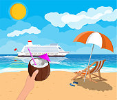 Coconut with cold drink, cocktail in hand. Landscape of wooden chaise lounge, umbrella, flip flops on beach. Cruise liner ship. Sun with reflection in water and clouds. Vector illustration flat style