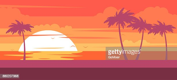 Tropical beach with palm trees and sea - summer resort at sunset : stock vector