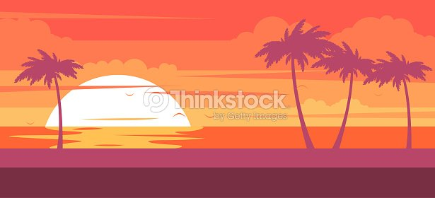 Tropical Beach With Palm Trees And Sea