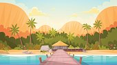 Tropical Beach With Water Bungalow House Landscape, Summer Travel Vacation Concept Flat Vector Illustration