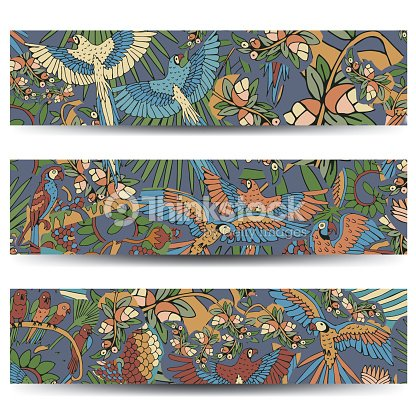Tropical Birds Background. Vector Cards and Banners with Exotic Flowers and Birds.