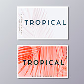 Tropical florals and foliage, botanical business card templates. Minimalist wedding postcard design. Palm leaves decoration, vector illustration.