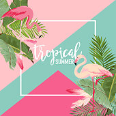 Tropical Flowers and Flamingo Summer Banner, Graphic Background, Exotic Floral Invitation, Flyer or Card. Modern Front Page in Vector