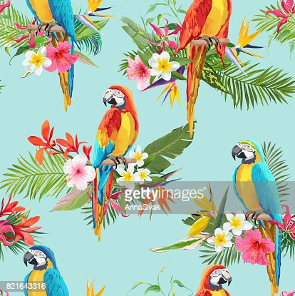 Tropical Flowers and Parrot Birds Seamless Background. Retro Summer Pattern in Vector : stock vector