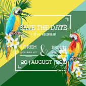 Tropical Flowers and Parrot Summer Wedding Card, Save the Date, Exotic Floral Invitation in Vector