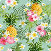 Tropical Flowers and Pineapples Background - Vintage Seamless Pattern - in vector