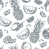 Tropical fruits seamless vector pattern. Sketch hand drawn illustration of pineapple, lemon, watermelon, pomegranate. Fashion textile print or background design.