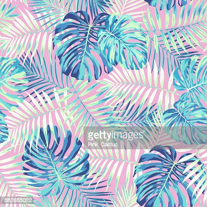Tropical Leaf Pattern in Pink and Blue : stock vector