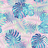 Tropical leaf design featuring bright blue palm and Monstera plant leaves on a pink background. Seamless vector repeating pattern.