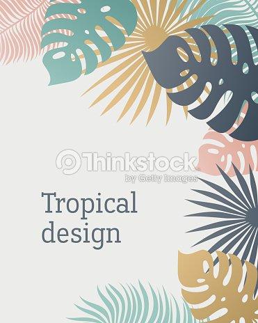 Plantilla De Hoja Tropical En Colores Pastel Verano Tropical Con ...